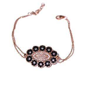 925 Silver Pave Cz Black & White Flower Bracelet